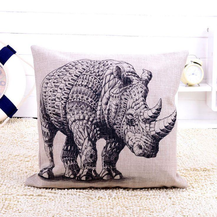 africanartonline.com - Divine Rhinoceros Cushion Cover, $24.95 FREE Shipping (http://africanartonline.com/divine-rhinoceros-cushion-cover/)