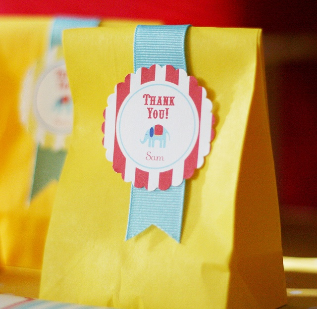 First Birthday Boy Party Loot Bag Single: Circus Carnival Favor Tags
