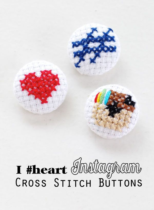 Adorable Instagram Cross Stitch Covered Buttons