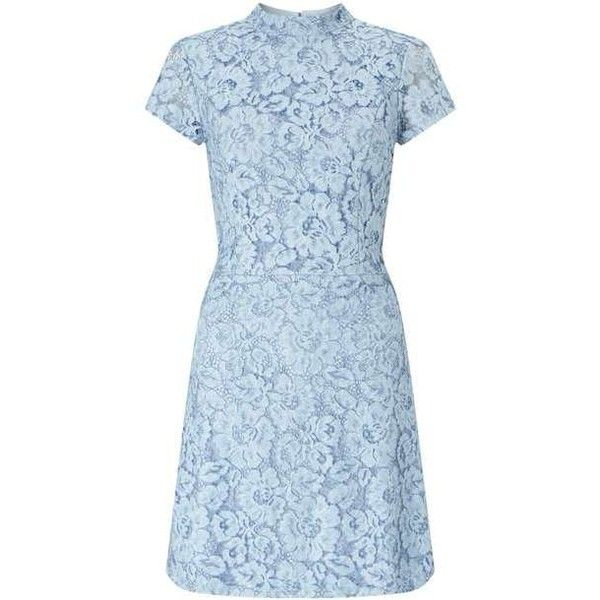 Blue Lace Skater Dress (440 ZAR) ❤ liked on Polyvore featuring dresses, blue day dress, blue color dress, miss selfridge, blue dress and lacy dress
