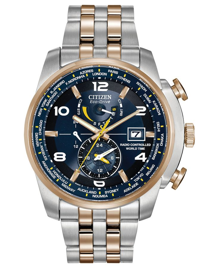 citizen s eco drive world time a t two tone stainless