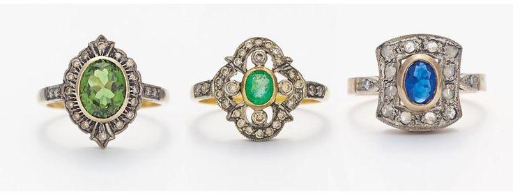 Gold Saphir Smaragd Peridot Ring Sammlung 1890 mit 64 Altschliff Diamanten