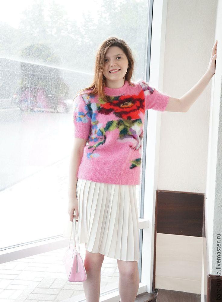 """Купить Свитер-пушистик """"Пинк"""" - розовый, рисунок, орхидеи, авторская ручная работа, вязаный свитер"""