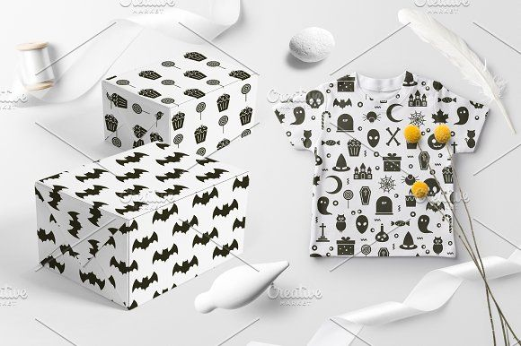 25 Halloween Icon Seamless Patterns by Nadezda Gudeleva on @creativemarket