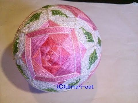 "Temari Lecture 123. How to make a Temari ""6 roses""."