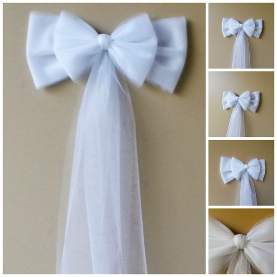 Double White Tulle Pew Bow- (Available in several colors) The perfect touch for wedding church pews, anniversaries, wedding gifts, doors, chairs, stair rails, mailboxes, tree toppers, wreaths, lamp posts, or any party accent or gift!