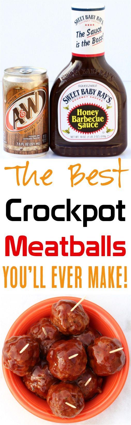 Crockpot Barbecue Root Beer Fleischbällchen! Dieses 3-Zutaten-Rezept ist das ultimative …