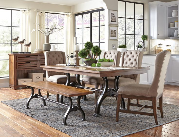 The Arlington House Dining Collection Features A Metal, Urban Style Trestle  Table, Comfortable Upholstered