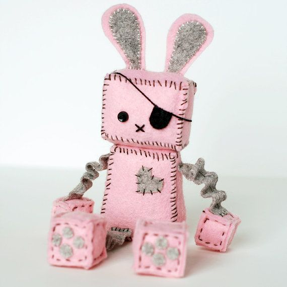 Pink Punk Robot Bunny with an Eye Patch, Bunny Ears and Tail on Etsy, $32.79 CAD