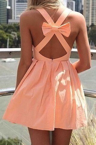 Sexy Plunging Neck Sleeveless Criss-Cross Bowknot Design Women's Dress
