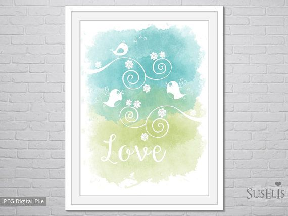 Bird Watercolor wall art Watercolor Print Blue Green by Suselis