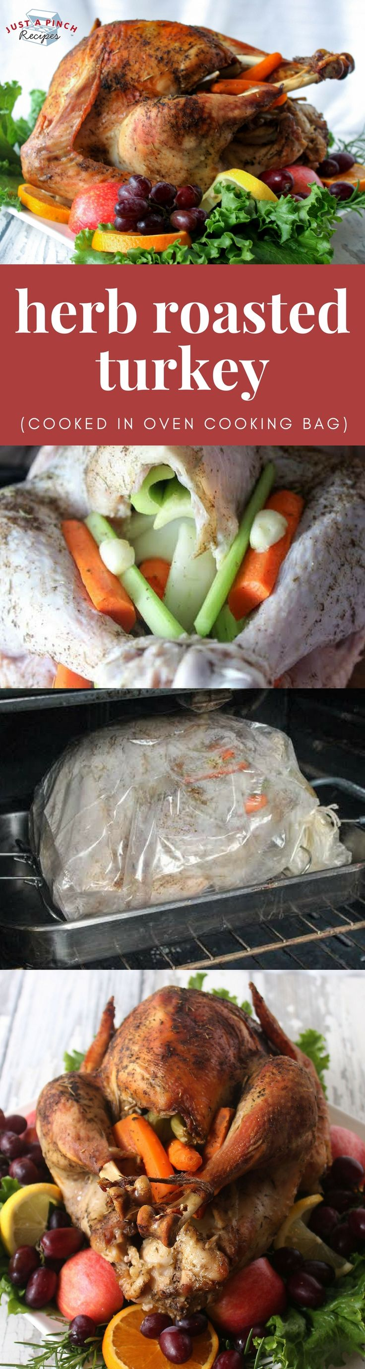 Easy Thanksgiving turkey recipe | herb roasted turkey cooked in oven cooking bag #thanksgivingrecipes #turkeyrecipe