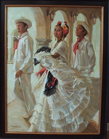 Jarocho Dancers by Gladys Roldan-de-Moras Oil ~ 48 x 36