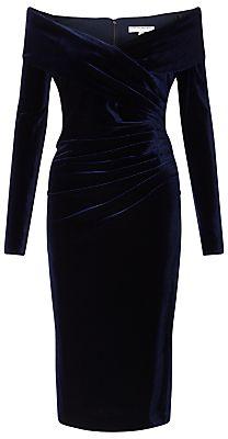 Jacques Vert Velvet Bardot Dress