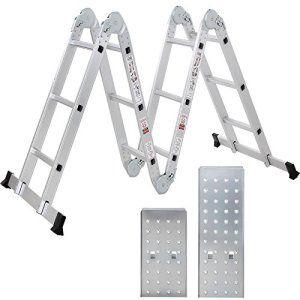 Songmics 3.7m Echelle (avec 2 panneaux) Aluminium Pliante Multifonction 12 Echelons Norme EN131 Charge 150 kg GLT36M