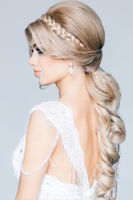 Glamorous braided wedding hair. Hair Stylist: Estile http://www.weddingchicks.com/2014/06/10/glamorous-engagement-rings/