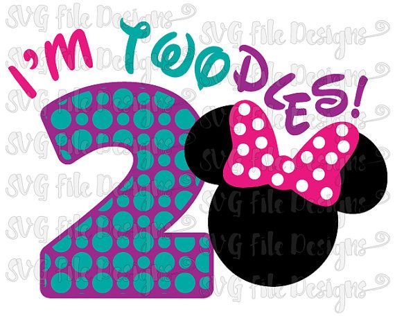 I'm Twodles Two Year Birthday Minnie Mouse Disney Onesie / Shirt Decal Cutting File in Svg, Eps, Dxf, Png, and Jpeg for Cricut & Silhouette