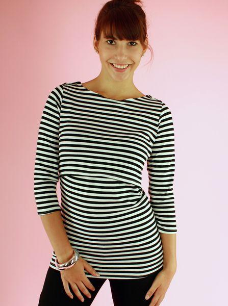 Milchshake+Umstands-&+Stillshirt+Gilian+gestreift+von+AgnesH.++Umstandskleidung+und+Stillkleidung+auf+DaWanda.com