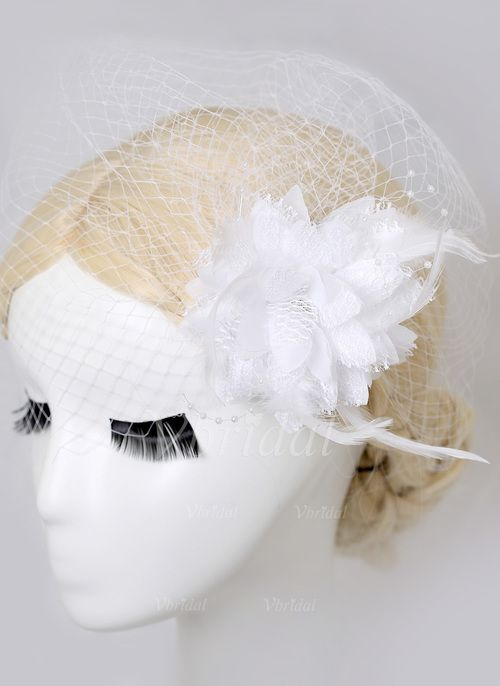 Headpieces - $3.63 - Gorgeous Feather/Tulle Birdcage Veils (0425089215)
