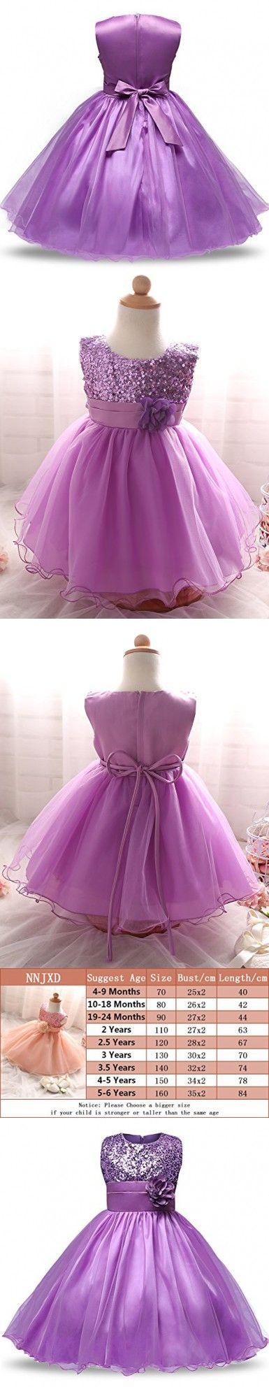 NNJXD Girl Flower Sequin Princess Tutu Tulle Baby Party Dress Size 10-18 Months Purple