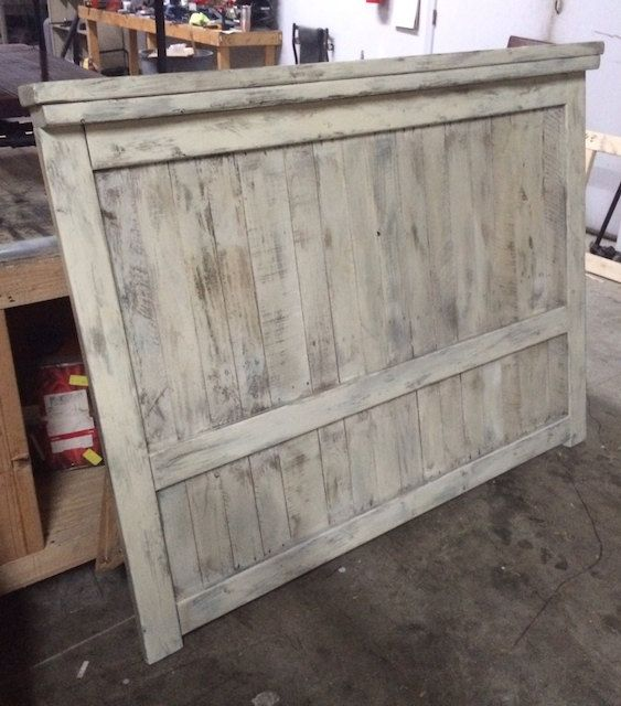 White Washed Farmhouse Head Board : Pallet by RAllisonWoodworks