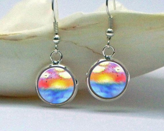 Abstract Sunset Art Earrings 1/2 Inch Diameter by phenergiart, $15.00