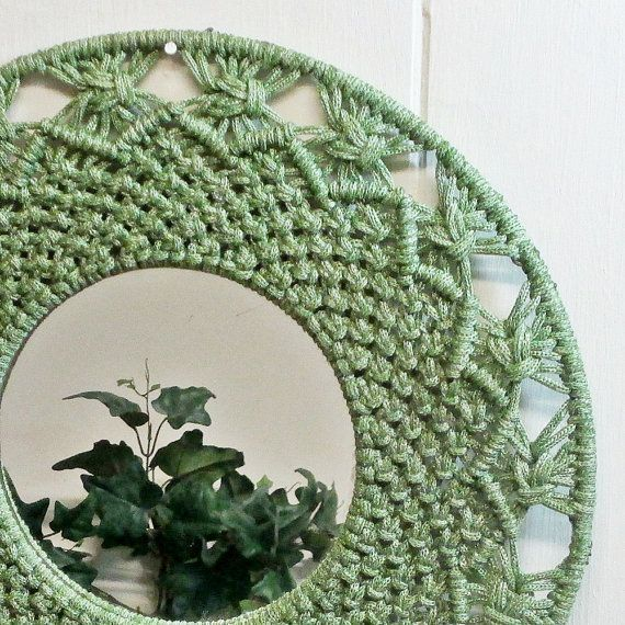 Macrame Mirror Wall Hanging Green 1970's