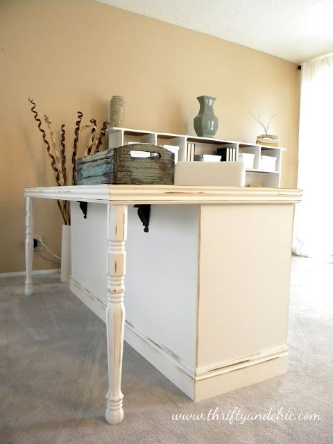 From old 70's dresser to a desk - this would also make a great kitchen island or snack bar...