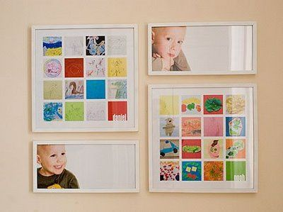 Children's artwork scanned and shrunk into to fit into one frame for display! This is such an awesome idea, especially because I have no idea what to do with their stuff all the time!