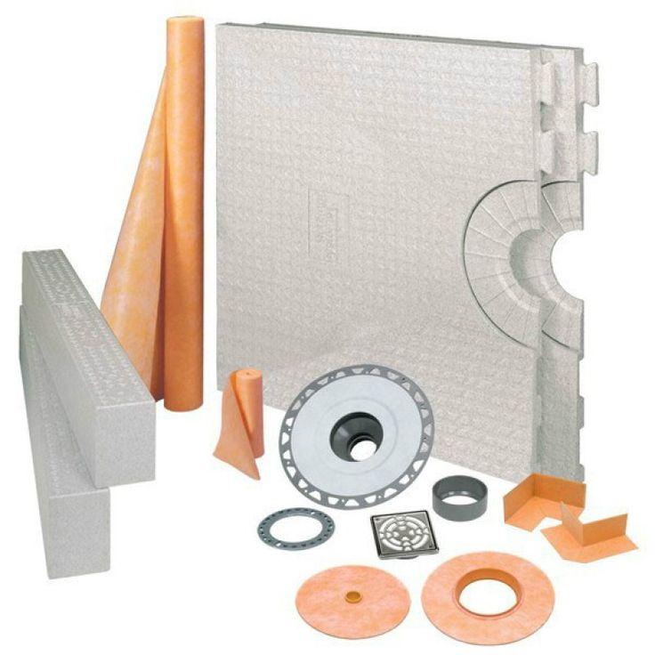 """KERDI-SHOWER-KIT 32"""" x 60"""" Center Drain Tray Stainless Steel - PVC Flange"""