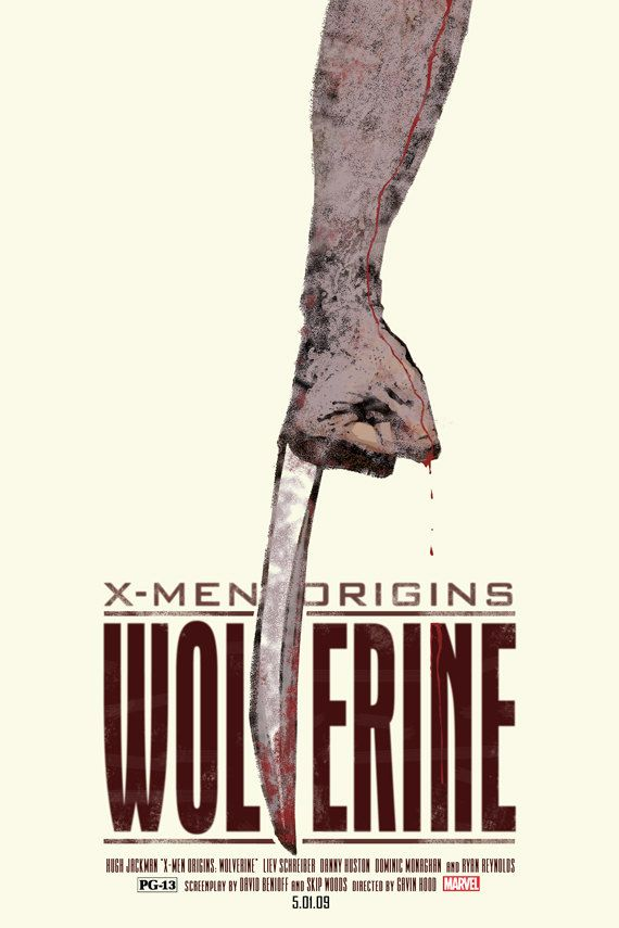 WOLVERINE! This is an easy and simple poster to know what movie this is. Everyone knows that the guy in the movie has hairy arms as he is like wolverine and also that he has 3 blades coming out his hand when he holds his fist.