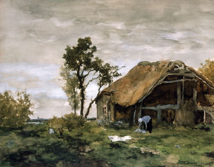 "https://www.facebook.com/MiaFeigelson ""The bleach"" By Jan Hendrik Weissenbruch, from the Netherlands (1824–1903) - watercolor -"