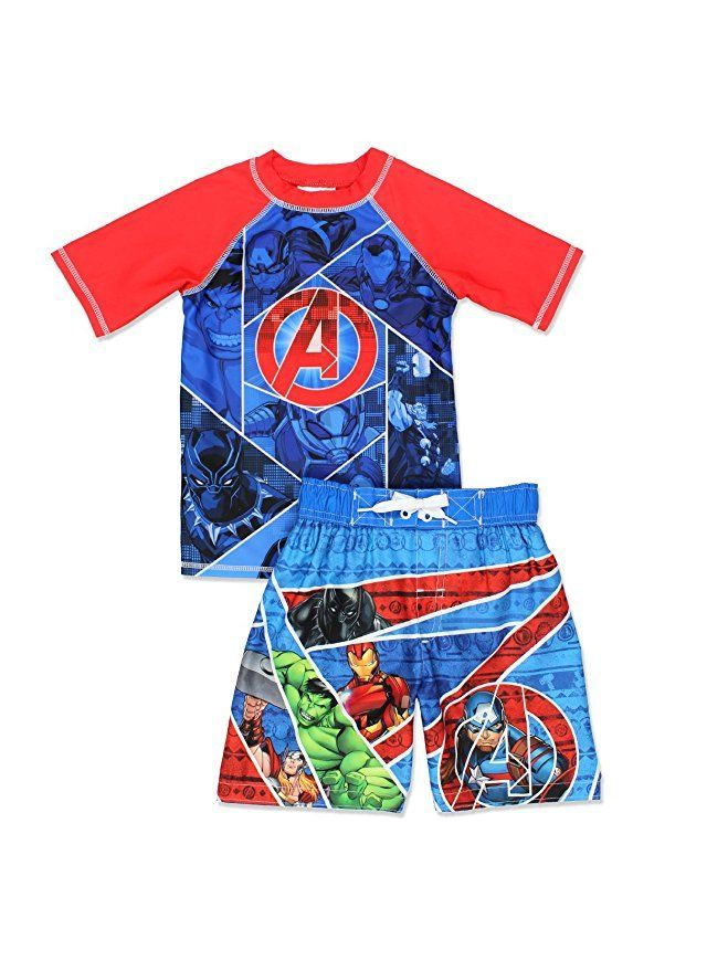 Disney Little Boys The Avengers Rash Guard with UPF 50+