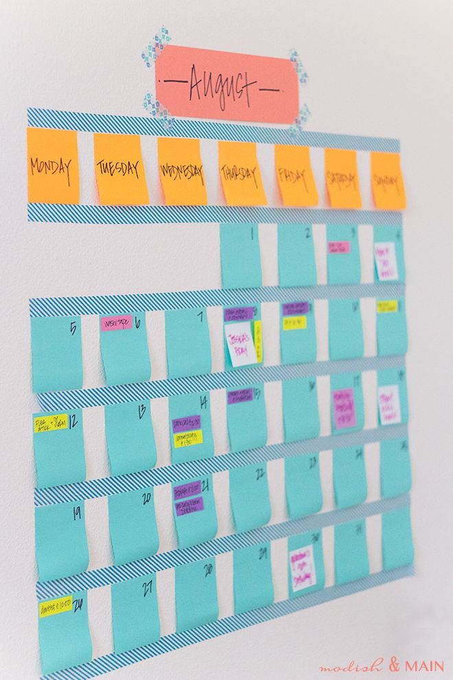 Looking for an easy calendar solution to hang on the wall? Try creating your own calendar by using removable washi tape! Get the full tutorial here.