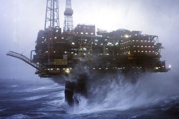 Shell/Esso Brent Charlie platform oil rig on the North Sea, 250 miles north-east of the Scottish Mainland