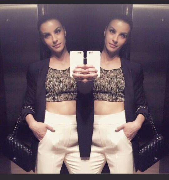 Greek singer Eirini Papadopoulou in our Fishbone crop top from SS14' Collection