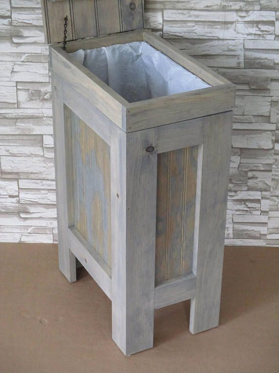Wood Garbage Can 13 Gallon Trash Can Wood Trash Bin Gray Stain