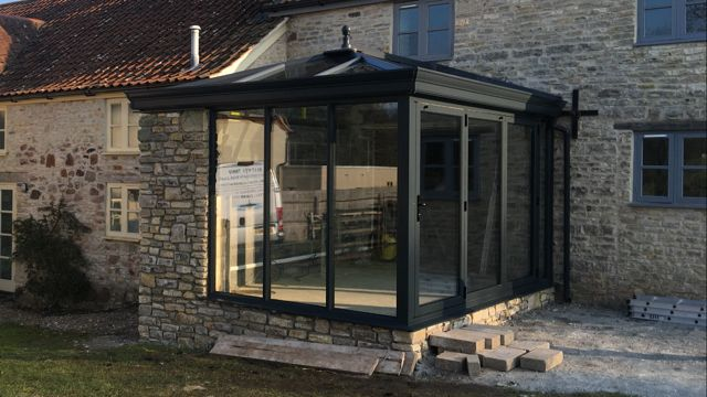 Bifold doors in a ultra frame Livin room conservatory