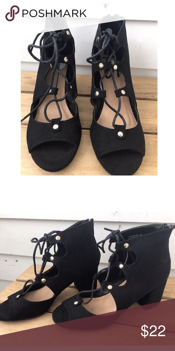 * MDW SALE * Lace Up Sandal Heels Black lace up sandal heels. Never before worn. Size 6.5. The brand is bamboo but tagged as nasty gal for exposure. We've heel and gold button detailing. Perfect for summer :) Nasty Gal Shoes Heels