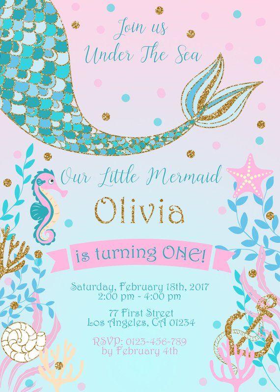 Mermaid Birthday Invitation Gold Glitter Party