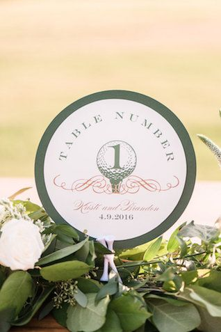 Golf wedding ideas / table number card | Audrey Rose Photography | see more on: http://burnettsboards.com/2016/01/masters-golf-tournament-inspired-wedding/