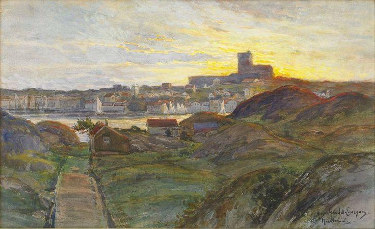 Anna Maria Gardell-Ericson (Swedish artist) 1853 - 1939 Sommarkväll, Marstrand, s.d. watercolour on paper 40 x 66 cm.