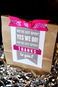 """maybe...For visiting cheer squad treat bags..change the wording to: """"We've got spirit, yes we do! We got spirit, so do you!"""""""