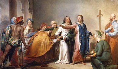 St Louis fait prisonnier en Egypte (Georges Rouget 1817-1818) - De février à avril 1250; les croisés font le siège de Mansourah .Le scorbut et la dysentrie déciment une grande partie des soldats. Les autres soldats et Louis IX sont fait prisonniers le 6 avril 1250 par les Mamelouks. Pendant sa captivité Louis IX charge son épouse Marguerite de Provence de la conduite de la croisade, mais en mai 1250, les prisonniers sont libérés en échange d'une forte rançon payée par l'ordre du Temple.