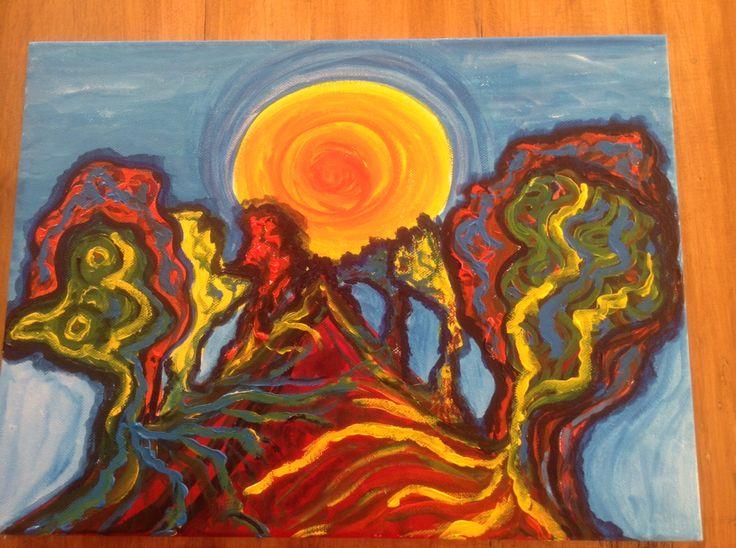 Acryl op canvas, landschap in felle kleuren
