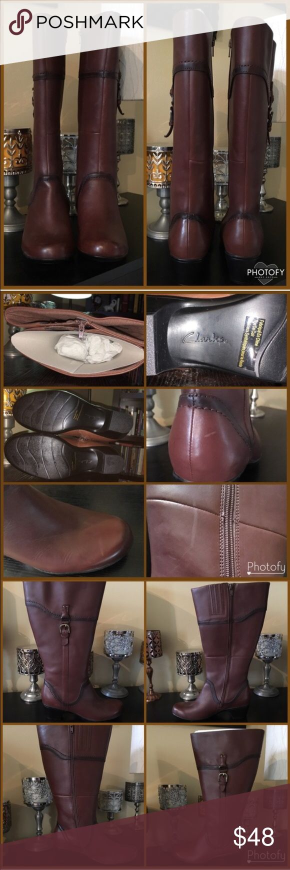 NWOT Clarks Gorgeous Leather Riding Boots NWOT Clarks Leather Riding Boots. Gorgeous all leather upper with decorative side buckles. Some distressing - see photos. Low heel. Super comfy when tried on. Wider calf opening - great for those who need it or for leg warmers/boot socks.   Ask questions & make reasonable offers. Thank You! 😊 No trades.   Nonsmoking, pet friendly (Morkie) home. Clarks Shoes Heeled Boots