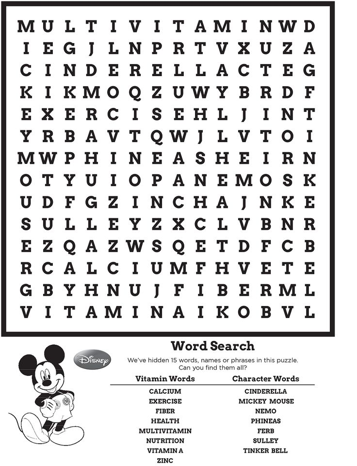 Disney Word Search Puzzle | Kiddo Shelter