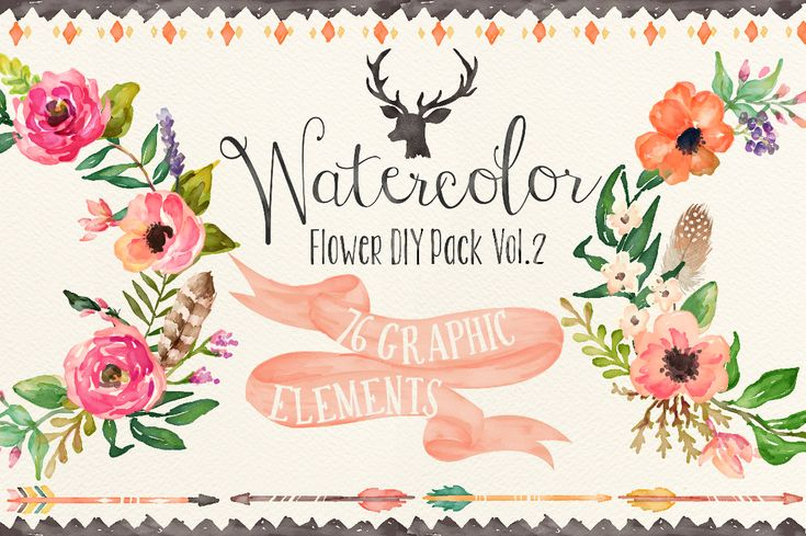Watercolor flower DIY pack Vol.2 by Graphic Box on Creative Market