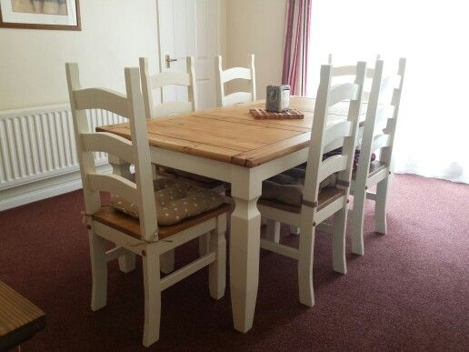 Old Corona-style dining room table and chairs upcycled with 'crushed almond' shade of paint. It's given a new lease of life to our very plain looking furniture. On to the next piece of furniture getting the same treatment....!