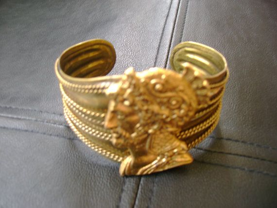 Gold Roman Cuff Bracelet// Handmade// Upcycled Jewelry// Made Chicago // Gift for Her // Roman Soldier // Unusual Bracelet // Italian feel by truthorwear. Explore more products on http://truthorwear.etsy.com
